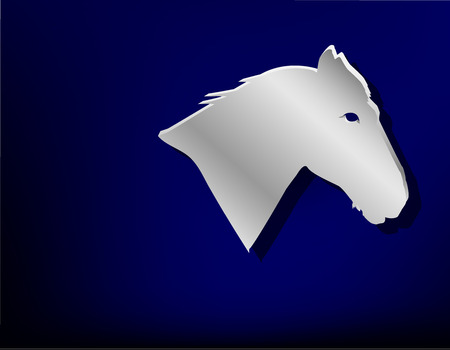 stainless: Silver badge on blue background.  Head of horse.
