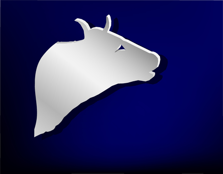 stainless steel: Silver badge on blue background.  Head of bull (cow). Illustration