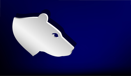 stainless steel: Silver badge on blue background.  Head of Bear. Illustration