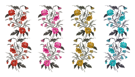 Set. Color  bouquet of flowers (poppies,ears of wheat and cornflowers).Ukrainian embroidery elements. Hand made. Border pattern. Can be used as pixel-art.