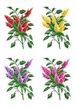 pixelart: Set. Color vector bouquet of flowers (pink bloom of lilacs) using traditional Ukrainian embroidery elements. Can be used as pixel-art.