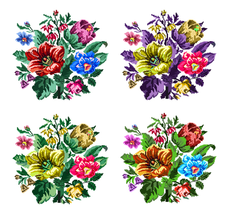 pixelart: Set. Color bouquet of wildflowers (lilia, bellflower, barberry flower and cornflowers)  using traditional Ukrainian embroidery elements. Can be used as pixel-art.