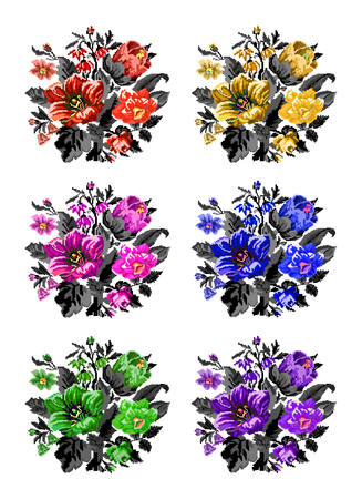 Set. Color bouquet of wildflowers (lilia, bellflower, barberry flower and cornflowers)  using traditional Ukrainian embroidery elements. Can be used as pixel-art.