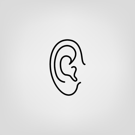 sense of security: Ear lines icon. Authorization scanner, sound badge, phone sign, eavesdrop... Illustration