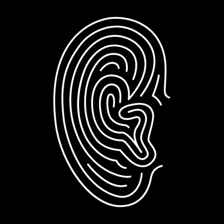 Ear lines icon. Authorization scanner, phone sign, eavesdrop... Black background.