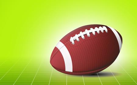 Football ball. 3d sport banner. Green field. Illustration
