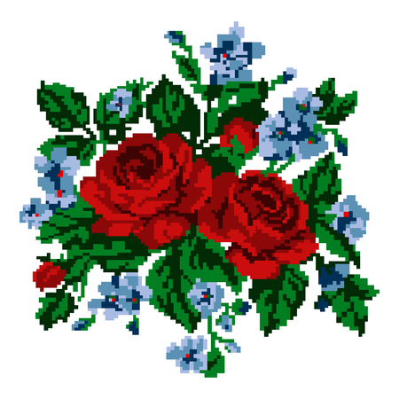Color bouquet of flowers (roses and cornflowers)  using traditional Ukrainian embroidery elements. Can be used as pixel-art, card, emblem, icon. Stock Photo