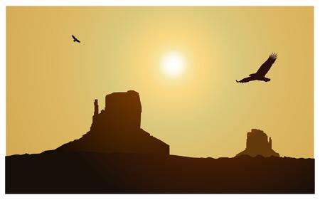 eagle canyon: Image landscape background. Western desert. Rocks. Flying eagles. Yellow sky. Stock Photo