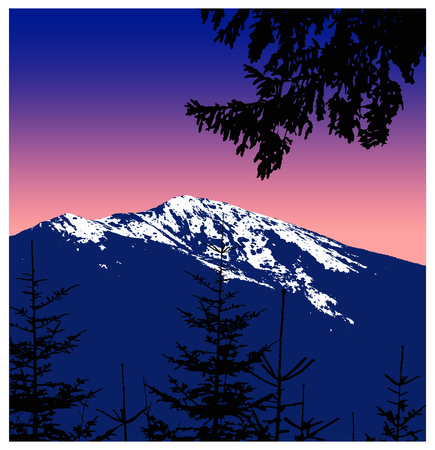 mountaineering: Panorama of mountains. Silhouette of mountains with snow and coniferous trees on the background of colorful sky. Sunset. Violet and pink tones. Stock Photo