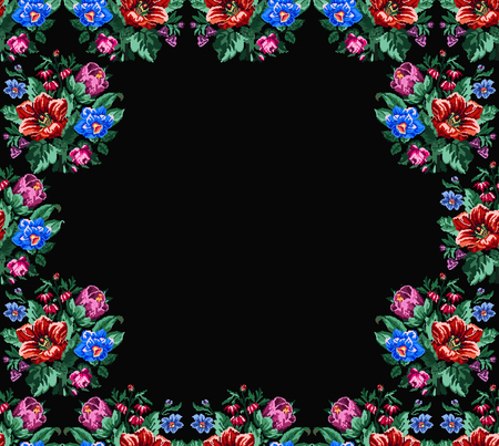 Color bouquet of wildflowers (lilia, bellflower, barberry flower and cornflowers)  on borders on the black background using Ukrainian embroidery elements. Place for text. Can be used as pixel-art.