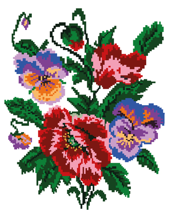 Color  bouquet of flowers (poppies and pansies) using traditional Ukrainian embroidery elements. Can be used as pixel-art. Stock Photo