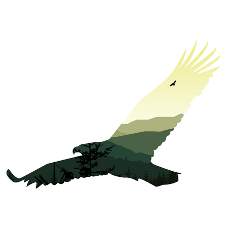 ridge: Silhouette of eagle with landscape of mountains. Stock Photo