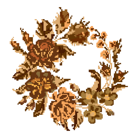 Wallpapers or textile. Circle  bouquet of flowers (roses, chamomile and cornflowers) using traditional Ukrainian embroidery elements. Brown tones. Can be used as pixel-art.