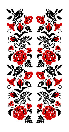 Color bouquet of flowers (roses, bellflowers and pansies) using traditional Ukrainian embroidery elements. Red and black tones. Seamless  pattern. Can be used as pixel-art. Stock Photo