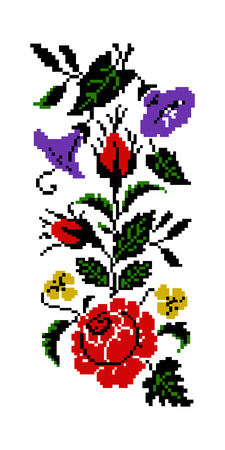 Color bouquet of flowers (roses, bellflowers and pansies) using traditional Ukrainian embroidery elements. Border  pattern. Can be used as pixel-art. Stock Photo