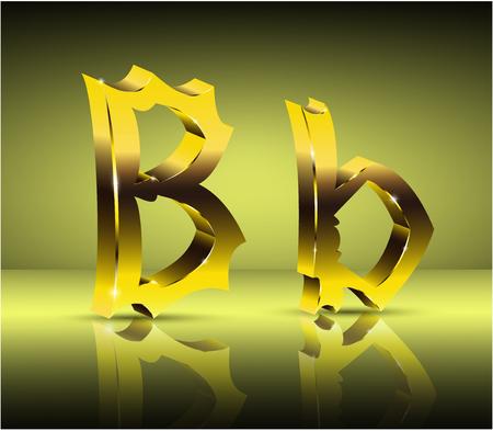 3D Golden letter B in vintage style.