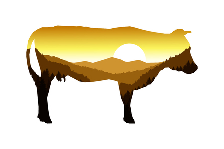 coniferous forest: Silhouette of golden cow with mountain landscape.
