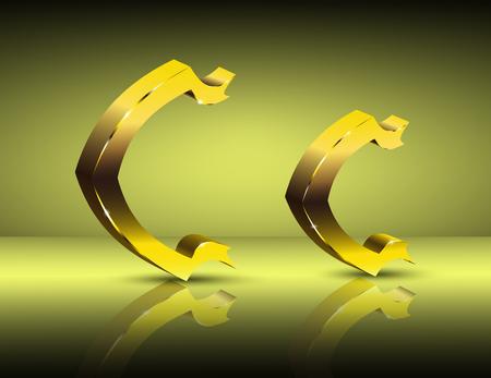 Golden letter C in vintage style.