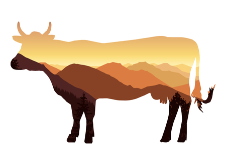 Image silhouette of cow with mountain landscape.