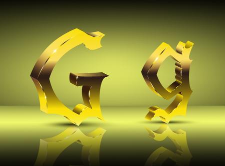 Image design. Golden letter G in vintage style.