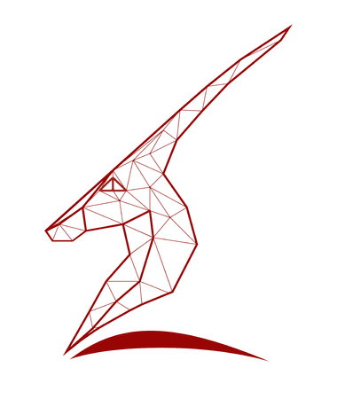 Illustration of antelope with many triangles.