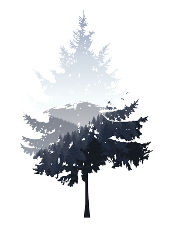 Natural silhouette of coniferous tree with panorama of grey mountains. Grey sky.