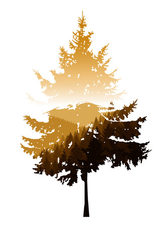 Silhouette of coniferous tree with panorama of mountains. Golden autumn. Stock Photo