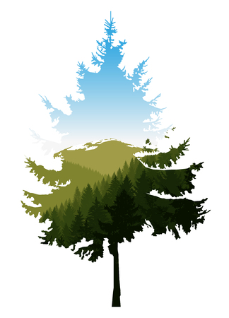 Silhouette of coniferous tree with panorama of mountains. Blue sky.