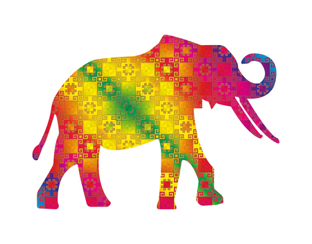 east indian: Silhouette of elephant with indian colorful seamless pattern textile.