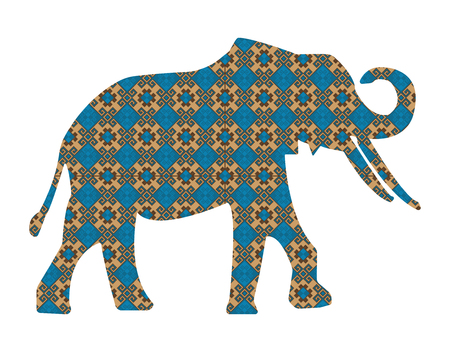 east indian: Silhouette of elephant with asian background.