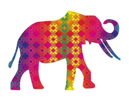 east indian: Silhouette of elephant with asian colorful  background.