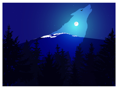 Abstract landscape. Eco banner. Clear silhouette of howling wolf. Night. Moonlights.