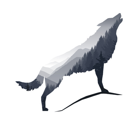 range: Silhouette of howling wolf with gray mountains landscape.