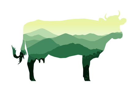 Silhouette of cow with mountain hills.