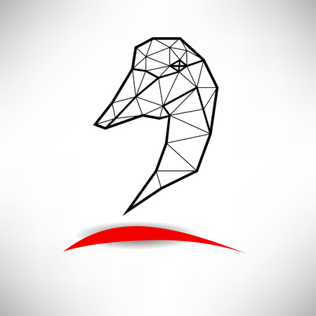 Schematic silhouette of poultry fowl or heron with many triangles.