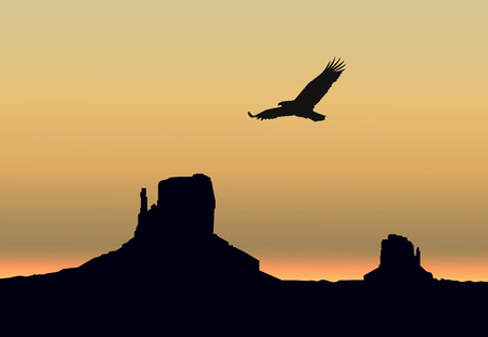 animal silhouette: Landscape background. Western desert. Rocks. Flying eagle. Gray and yellow sky.