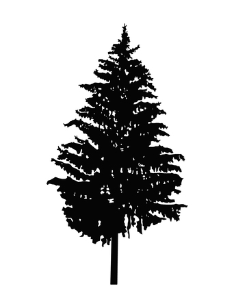 Silhouette of pine tree. Can be used as poster, badge, emblem, banner, icon, sign, decor... Stock Photo