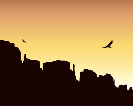 eagle canyon: landscape background. Western desert. Rocks. Flying eagles. Colorful sky. Stock Photo
