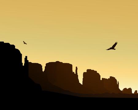 animal silhouette: Western desert. Rocks. Flying eagles. Yellow sky. Stock Photo