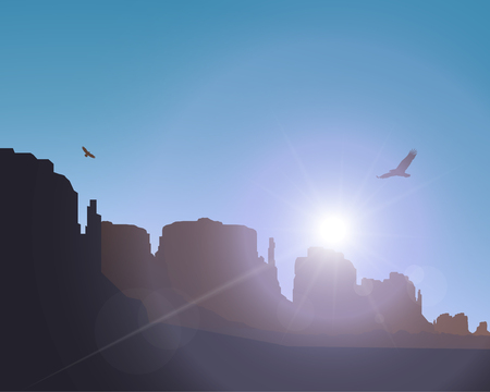 eagle canyon: Image landscape background. Western desert. Rocks. Flying eagles. Abstract violet and pink colours of sky. Rays of sun or star. Stock Photo