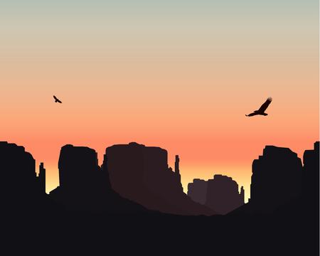 eagle canyon: Western desert. Rocks. Flying eagles. Colorful sky. Sunset. Stock Photo