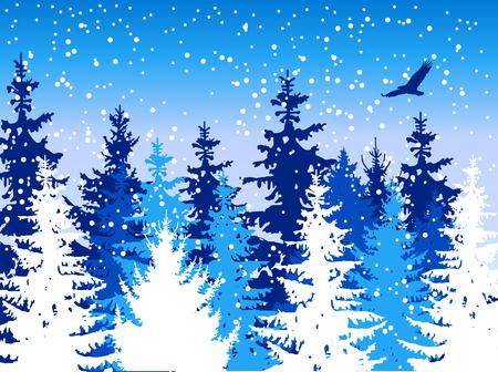 Landscape. Woodland. Winter. It is snowing.