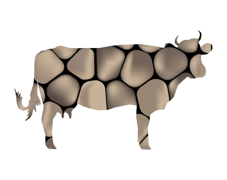 Silhouette of cow with background of stones.