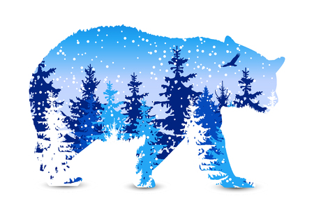 animal silhouette: Silhouette of bear with winter woodland. Snowing. Stock Photo