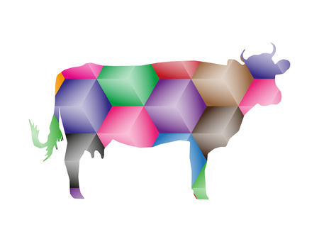 Silhouette of cow with abstract color cubes. Stock Photo