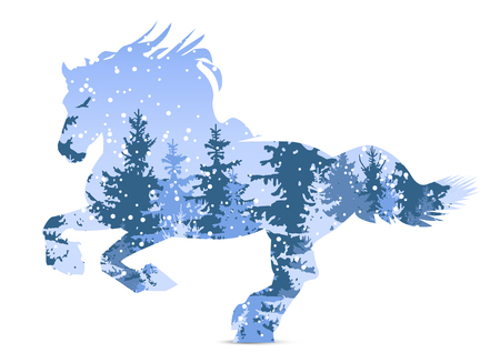 Silhouette of horse with winter woodland. Snowing.