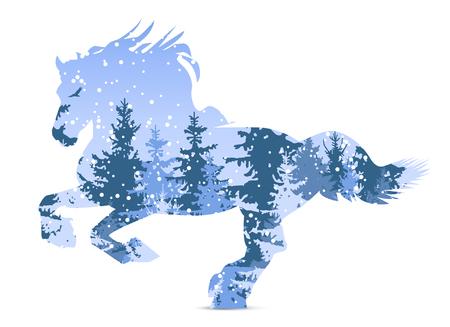 coniferous forest: Silueta de caballo con bosque de invierno. Nevando