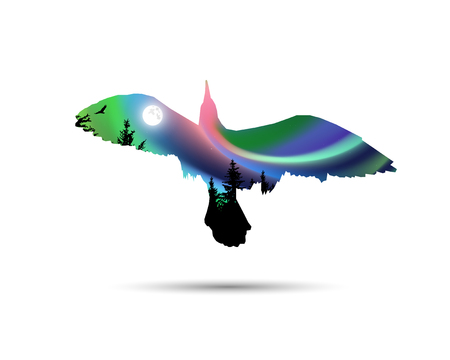 Silhouette of sea gull with coniferous trees on the background of colorful sky.  Moonlight.   Northern lights. Stock Photo