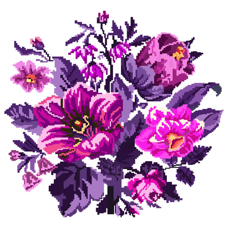 Color bouquet of wildflowers (lilia, bellflower, barberry flower and cornflowers)  using traditional Ukrainian embroidery elements. Can be used as pixel-art.  Violet and pink tones. Stock Photo