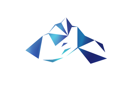 Snow mountains peak (Everest) logo. Much blue triangles. Can be used as sports badge, emblem of mineral water, tourism banner, travel icon, sign, decor...
